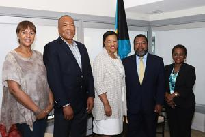 The Rt. Hon. Patricia Scotland, Commonwealth Secretary-General is paying an Official Visit to the Commonwealth of the Bahamas, July 15-20, 2017.  Officials greeted her on Saturday, July 15, at the VIP Lounge of Lynden PIndling International Airport. Pictured from left are Joy Jibrilu, Director General, Ministry of Tourism; Wellington Miller, Chairman of the Bahamas Commonwealth Youth Games Organizing Committee; Secretary General; Eugene Newry, Ministry of Foreign Affairs; and Sharon Brennen-Haylock, Director General of the Ministry of Foreign Affairs.