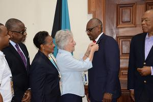 Members of Team Bahamas, Commonwealth Youth Games, in a photo op with Dr. the Hon Hubert Minnis, Prime Minister of the Commonwealth of the Bahamas, during a Courtesy Call at the Office of the Prime Minister on Monday, July 17, 2017