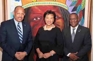 Secretary-General of the Commonwealth of Nations the Rt. Hon. Patricia Scotland, QC, is pictured during a courtesy call at the Ministry of Youth, Sports and Culture with the Minister of Youth, Sports and Culture the Hon. Michael Pintard (right) and Minister of Health Dr. the Hon. Duane Sands on July 19, 2017.  (BIS Photo/Eric Rose)