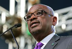 Prime Minister, Dr. the Hon. Hubert A. Minnis addresses the Official Opening of the Commonwealth Youth Games at the Thomas A. Robinson National Stadium, July 18, 2017.  (BIS Photo/Derek Smith)