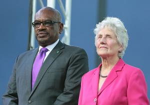 Prime Minister Dr. the Hon. Hubert Minnis and President of the Commonwealth Games Federation Louise Martin at the Official Opening Ceremony of the 2017 Commonwealth Youth Games at the Thomas A. Robinson National Stadium, July 18, 2017. (BIS Photo/Derek Smith)